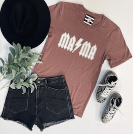 """Mama"" Heather Mauve Graphic T-Shirt"