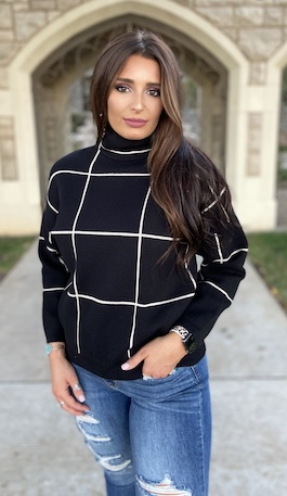 """Marlow"" Black Grid Pattern Turtle Neck Sweater"