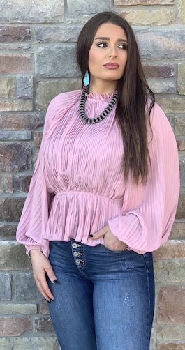 """""""So Glam"""" Mauve Pleated Woven Top"""