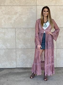 """Gypsy Wonder"" Mauve Lace Kimono Duster"