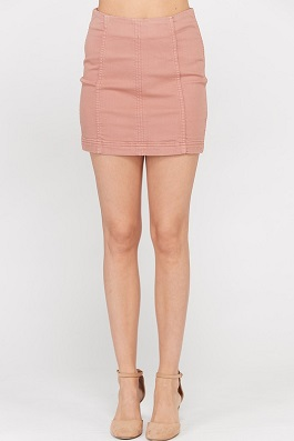 Mauve 8 Panel Sateen Mini Skirt