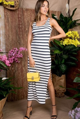 """Beachside Girl"" White/Navy Striped Maxi Dress"