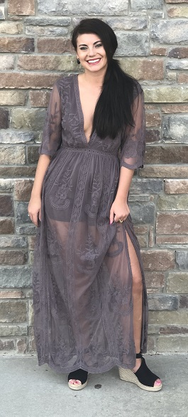 """Midnight Kiss"" Lace Deep V Maxi Dress"