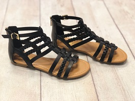 Black Multi Strap Braided Detail Sandal