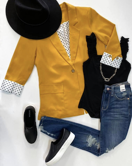 Mustard Blazer With Polka Dot Detail Sleeves