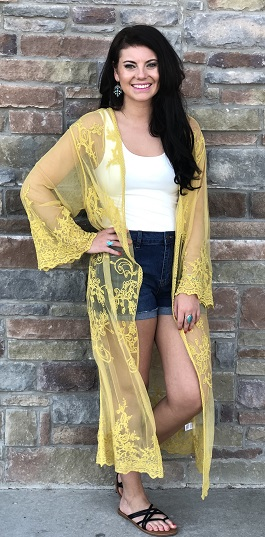 """Deep Desire"" Mustard Embroidered Lace Detail Duster"