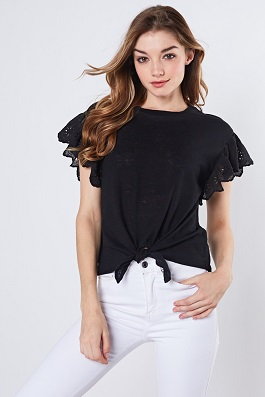 """Eye Candy"" Black Eyelet SS Ruffle Top"