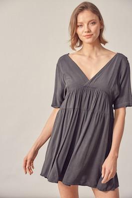 """""""Sweet & Savvy"""" Black Washed Flowy Dress"""