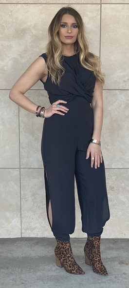 """""""Simply Irresistible"""" Black Open Back With Slit Legs Jumpsuit"""