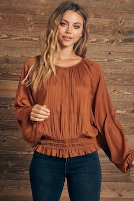 """Effortless Love"" Round Neck Shirring Blouse"