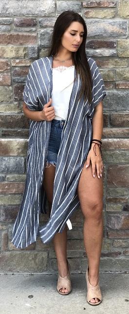 """Gentle Breeze"" Denim/White Striped Slit Kimono"