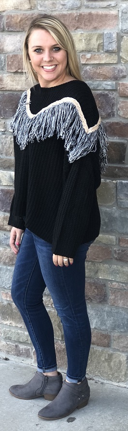 """Out West"" Black Fringe Detail Sweater"