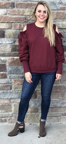 """Casual Afternoon"" Maroon Drawstring Open Sleeve Top"