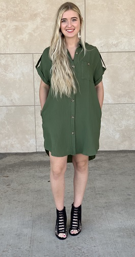 """Rugged Girl"" Olive SS Collared Button Down Dress"