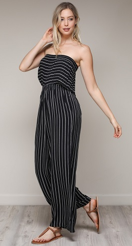 """Total Babe"" Black Striped Strapless Romper"