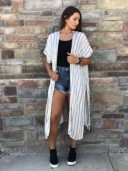 """Gentle Breeze"" White/Black Oversized Kimono With Slit Sides"