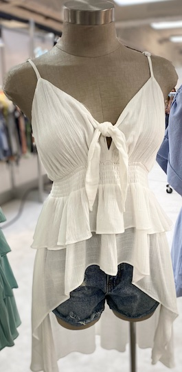 """""""One Kiss Away"""" White Hi Low Front Tie Top"""
