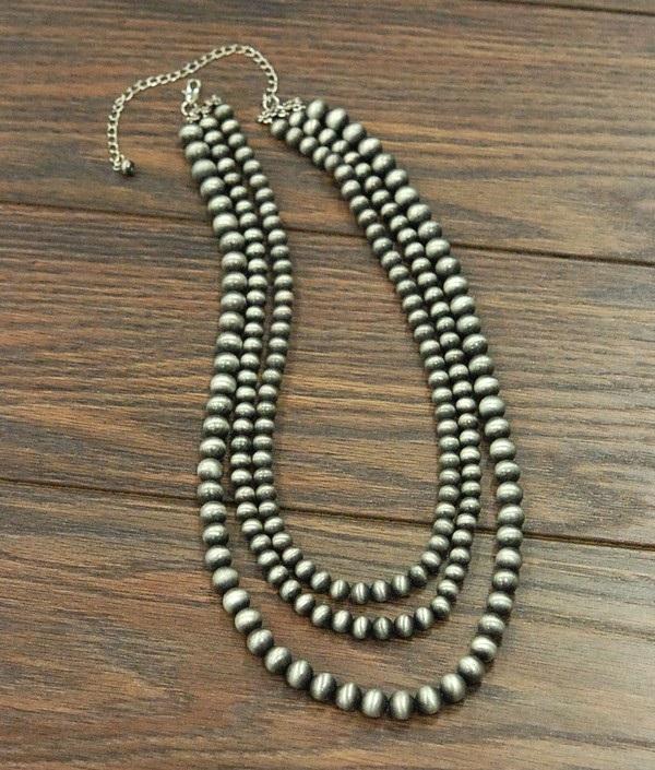 Three Strand Multi Navajo Pearl Necklace