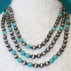 Faux Silver Navajo Pearl Necklace with Turquoise