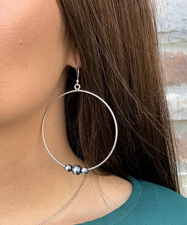 Genuine Navajo Pearl Hoop Earrings