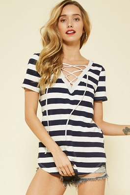 """Jada"" Navy Striped Lace Up SS Top"