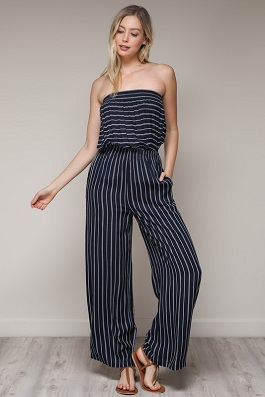 """Total Babe""Navy Stripe Romper"