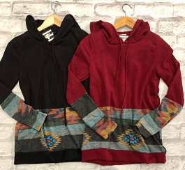 """Mountains Are Calling"" Black & Burgundy Aztec Pullover"