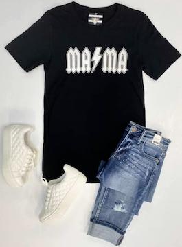 """MAMA"" Black Graphic T-Shirt"