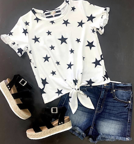 """Oh My Stars"" White Tie Front Top With Star Detail"