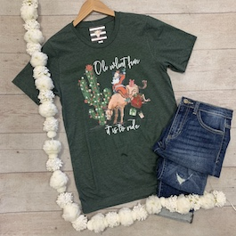 """Oh What Fun It Is"" Santa On A Bucking Horse T-Shirt"