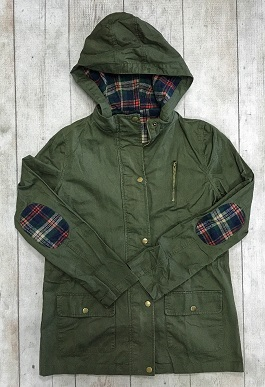 """""""Plaid Perfect"""" Army Green Jacket With Plaid Sleeves"""