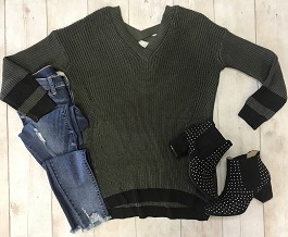 """Sierra"" Olive Sweater With Criss Cross Back("