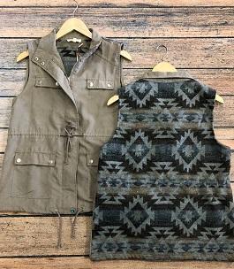 Taupe Aztec Back Cargo Vest