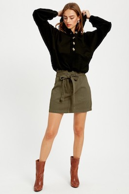 Olive High Waisted Tie Skirt