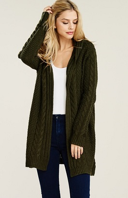 """Stevie"" Olive Knitted Thick Open Cardigan"