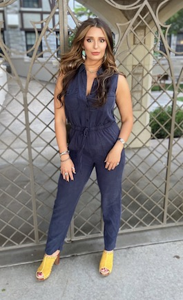"""On The Go"" Navy Denim Pant Jumpsuit"
