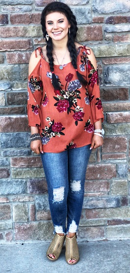"""Bloom"" Rosewood Floral Cold Shoulder Top"