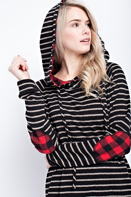 """Endless Love"" Black Striped Plaid Elbow Hoodie"