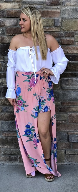 """Hawaiin Falls"" Peach Floral Maxi Skirt With Slit"