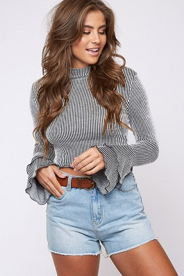 """Winter Flirt"" Striped Ruffle Bell Sleeve Top"