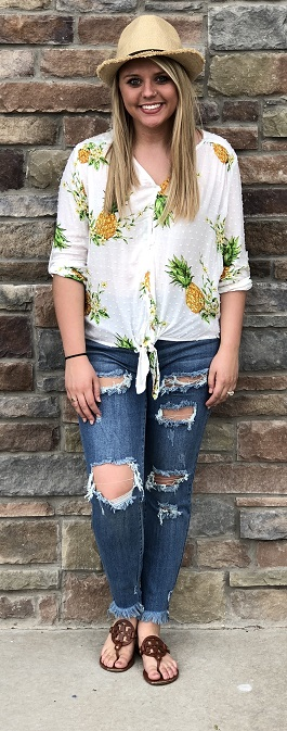 """Beach Please"" Pineapple Button Down Front Tie Top"