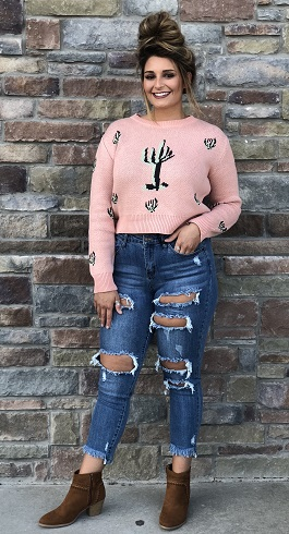 """Prickly Perfect"" Soft Pink Cactus Sweater"