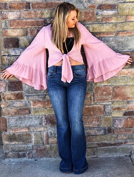 """Boho Desires"" Pink Front Tie With Bell Sleeves"