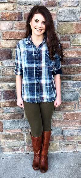 """Everyday Girl"" Multi Plaid Button Down Top"