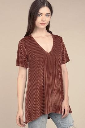 """""""Rustee"""" Velvet Pleated T-Shirt(HWT139)"""