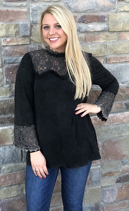 """Nevermore"" Black Long Sleeve Neck Blouse"