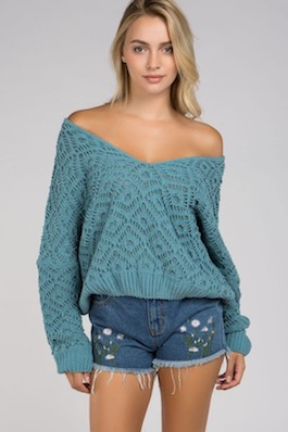 """Emerald"" Emerald Blue Deep V Chenille Woven Sweater"