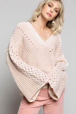 """Cabin Date"" Ivory Chenille V-Neck Sweater With Wide Arms"