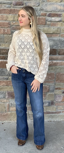 """Jenna"" Ivory Mock Neck Crochet Sweater"