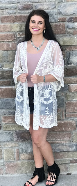 """Lillie"" Natural Lace Embroidered Kimono"